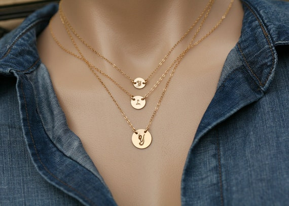 layered initial necklace,tiny initial dot,large initial circle,hand stamped initial,custom font,Silver or gold or rose gold,family initials
