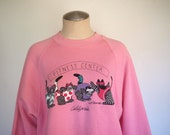 90s bubble gum pink pullover sweatshirt with exercising cats size medium/large