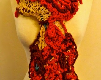 French vintage ecru hand crochet lace from Paris, adorned in colorful trimming. Scarf or decor