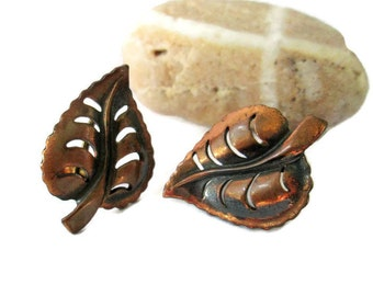 Copper Leaf Motif Vintage Earrings, Retro Screw Back , MCM 1950s Woodland