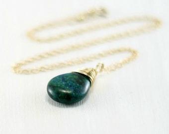 Azurite Malachite Necklace, 14k Gold Filled Azurite Malachite Pendant Yellow Gold Wire Wrapped Green Stone Necklace