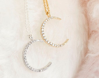 Crescent Moon Pave Cubic Zirconia CZ Charm Necklace, Gold / Silver, Whimsical Jewelry Girlfriend Bridesmaid Gift, ej