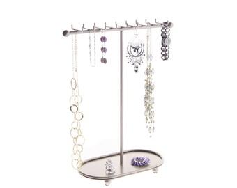 Necklace Holder Organizer Display Stand Jewelry Storage Rack - Angelynn's Gianna Jewelry Tree (Satin Nickel Silver)