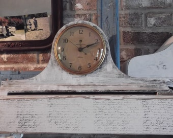 Vintage GE electric mantle clock, shabby chic clock, General Electric antique clock