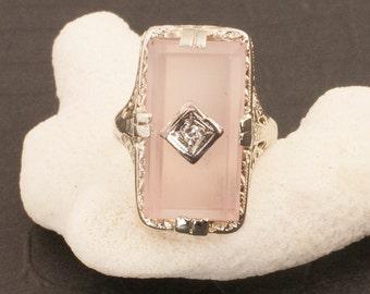 Vintage Art Deco Quartz And Diamond Ring