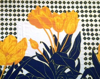 Vintage 60s Border Print Fabric Large Scale Gigantic Tulips Navy Blue and Yellow Flowers Mid Century Mod Cute Bright Fun!
