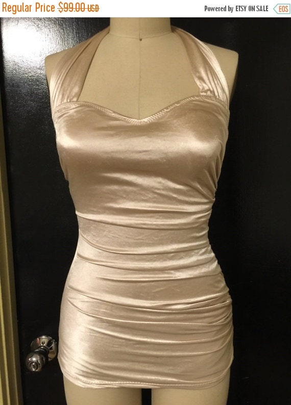 CLEARANCE DESIGNER SAMPLE 1 Piece Champagne Satin Sarong Swimsuit Small