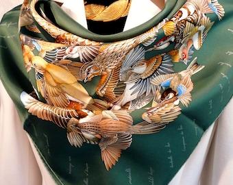 Hermes Silk Twill Scarf L'Intrus Hermes Silk Twill Scarf, Hand Rolled Contrasting Hem