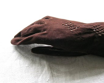 Real Kid Leather Gloves, Antique 1920s, Made in France by Gant Vallier, Size 7 (French Size)