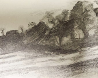 Pencil Drawing on Paper, Small scale, impressionist  Pencil Drawing, Lanscape Drawing on Paper, Nature Drawing, Drawing of Trees