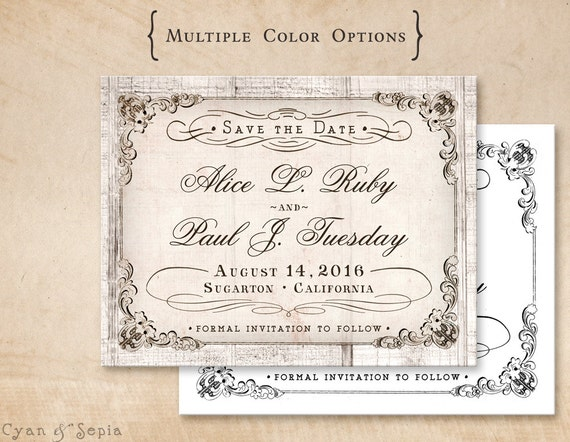Antique calligraphy on wood wedding save the date design