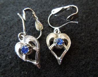 Vintage Heart Earrings, Silver Toned with Blue Rhinestone, Clip On Style, in Excellent Condition