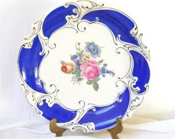 antique blue serving dish blue dish vintage porcelain dish collectible dish German porcelain dish blue floral dish serving plate