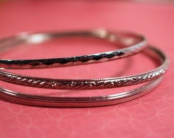Three Skinny Silver Tone Vintage Bangle Bracelets