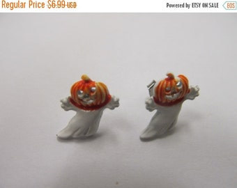 ON SALE Vintage Enameled Jack o lantern Ghost Earrings Item K # 1784