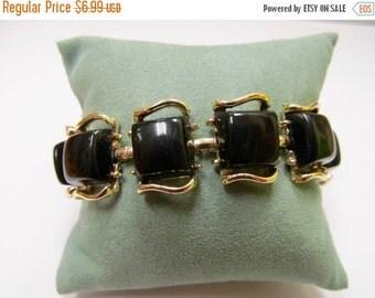 ON SALE Vintage Black Plastic Panel Bracelet Item K # 2233