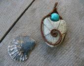 Sea stone pendant, Turquoise bead, wire wrapped pendant, genuine sea stone, sea stone jewelry, beach stone pendant, copper wire
