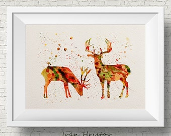 Abstract Deers- Watercolor Fine Art Print, Home Decor