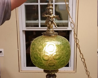 Vintage Mid Century 1960's Swag Lamp Light Patterned Green Glass Globe Gold Tone Tested Working