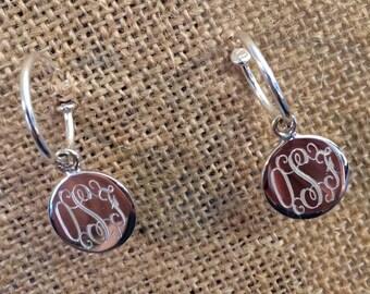 Sterling Silver Monogrammed Hoop Earrings