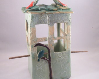 Bird Feeder Square  Green with Patina  Roof, Ceramic Stoneware