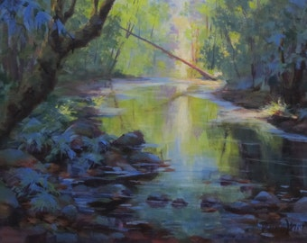 The Creek - Original acrylic river painting