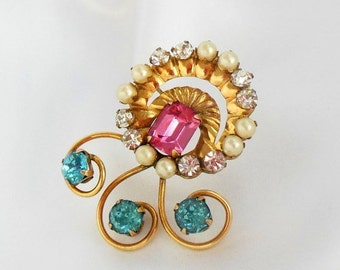Biggest Sale Ever AMCO Gold Brooch with Rhinestones in Pink and Blue Marked 1/20 12K GF