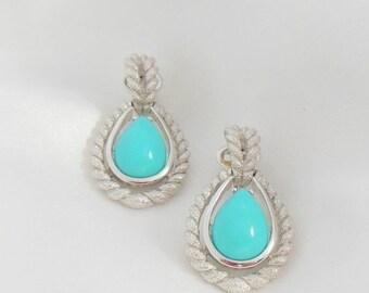 Biggest Sale Ever Vintage Earrings, Turquoise Silver, Clip on,  AVON Blue Teardrop, Door Knocker, Dangle