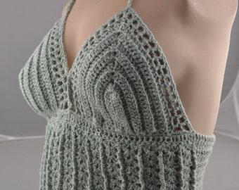 Crochet Festival Top in Mint