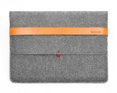 13'' Macbook Case Tablet Sleeve Wool Felt Case for Macbook Pro 13 ''Retina with Italian Thick Leather Strap Laptop Sleeve TopHome
