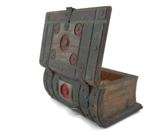 Book Shaped Jewelry Box Primitive and Gothic with Music Box