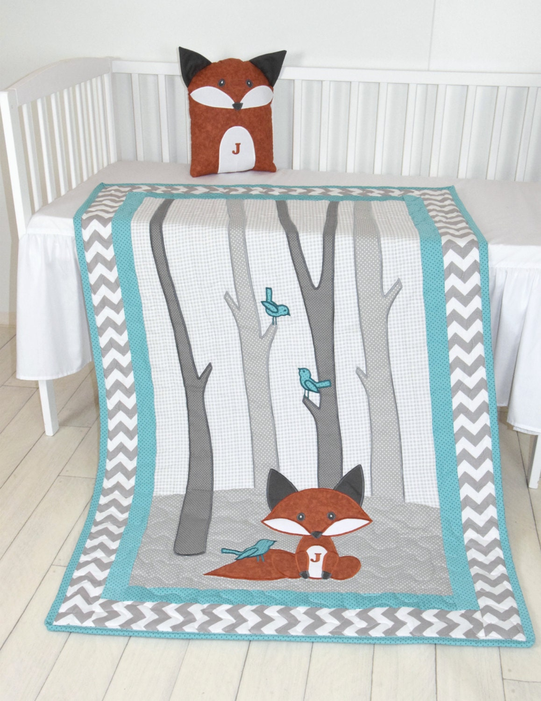 Fox Blanket, Teal Chevron Gray Nursery, Baby Boy Quilt ...