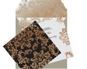 Die Cut Custom Luxury Invitations - DieCut Gold/Black and Ivory Metallic Double Sided Invitation - Metallic Invitations by InviteCouture