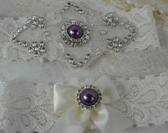 Bridal Garter - Wedding Garter- Rhinestone Garter- Purple Garter