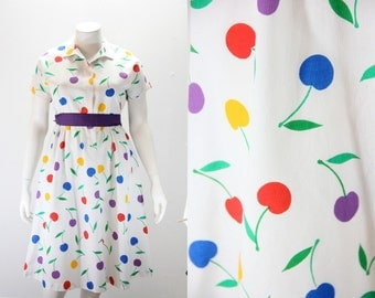 XXL Vintage Dress - GIANT Cherries in Primary Colors :)