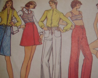 Vintage 1970's Vogue 8326 Jacket, Pants, Shorts, Skirt and Top Sewing Pattern, Size 10, Bust 32 1/2