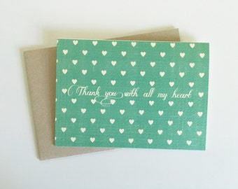 Thank you with all my heart teal note card set