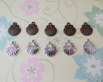 10 pcs - Bronze and/or Silver Shell Charm