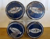 4 VTG Standard Oil Jars, Standard, Oil, Jars, 1950's, Jars, Advertsing, Organization, Vintage Advertising, Bottle, Glass, Gas, Station
