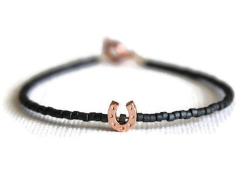 Tiny Horseshoe Bracelet - Lucky charm bracelet - Lucky pendant - Rose Gold horseshoe bracelet - Minimalist bracelet