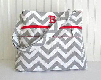 Personalized Chevron Diaper Bag in Gray and Red or Choose Your Own Monogrammed Nappy