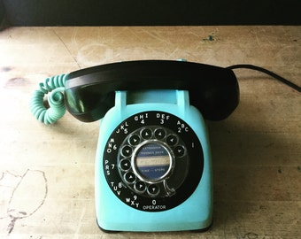 Retro Aqua and Black Telephone, Rotary Dial Desk Top Phone, Automatic Electric Monophone, Bakelite Mid Century Telephone, Office Phone
