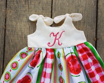 watermelon dress, Monogrammed Knot Dress, newborn 0-3, 3-6, 6-12, 12-18, 18-24 months, summer, dress coming home outfit, watermelons, fruit