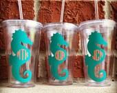 Monogram Seahorse Tumbler, Seahorse Beach Cup, Monogram Tumbler, Custom Tumbler, Custom Cup, Personalized Tumbler, Monogram Cups