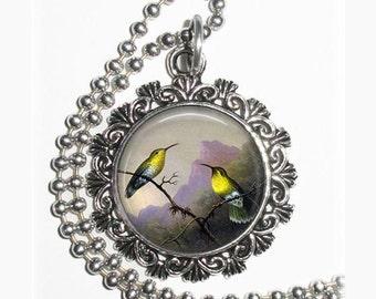 Two Yellow Hummingbirds Art Pendant, Copper-tailed Amazili Resin Pendant, Martin Johnson Heade Art, Photo Pendant