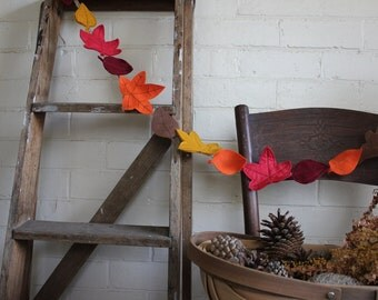 Autumn leaves garland - handcut and machine stitched felt autumn leaves on crochet string garland