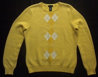 Vintage 90s IZOD Argyle Yellow Cotton Sweater Golf Jumper Womens Medium