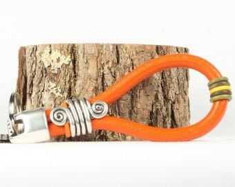 Keychain, Orange leather key ring, Key holder, Silver slide,  CarolMade K4