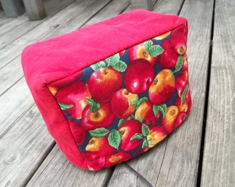 Apple Quilted Toaster Cover Burgundy Red Black
