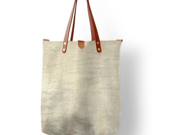 Pale Gold Leather Tote